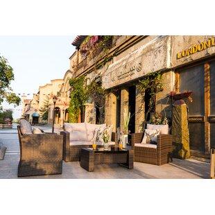 Edmonia 4-Piece Sofa Seating group with Luxury Cushions Lounge Set