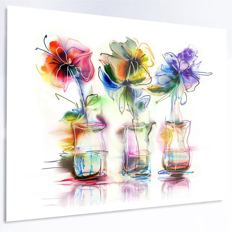 Designart Abstract Flowers In Glass Vases Print On Metal Wayfair