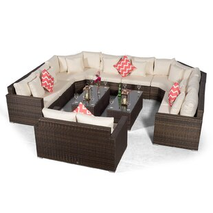 Villasenor Brown Rattan U Shape 8 Seat Sofa With 2 X Rectangular Coffee Table & 2 Seat Sofa, Outdoor Patio Garden Furniture By Sol 72 Outdoor