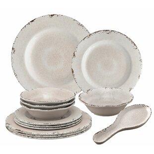 Kinzer 13 Piece Melamine Dinnerware Set, Service for 4
