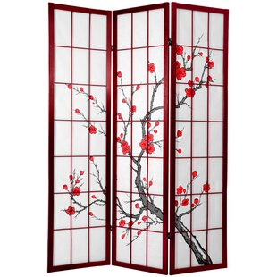 Ryerson Cherry Blossom Shoji Screen 3 Panel Room Divider by Bloomsbury Market