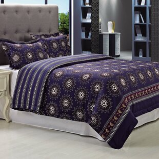 Poplar 3 Piece 100% Egyptian-Quality Cotton Reversible Duvet Cover Set