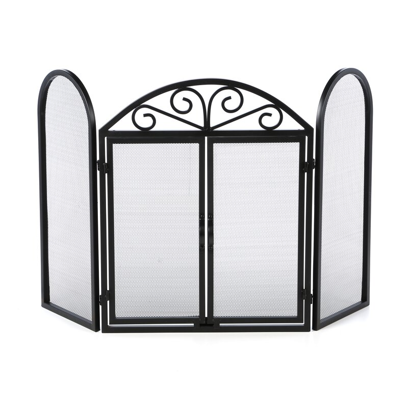 Uniflame 3 Panel Wrought Iron Fireplace Screen With Opening Doors