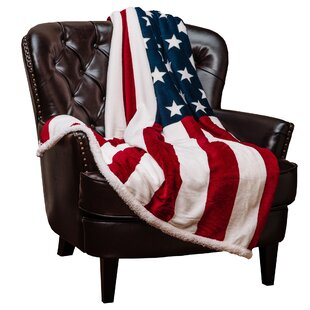US Flag Print Super Soft Sherpa Throw Blanket