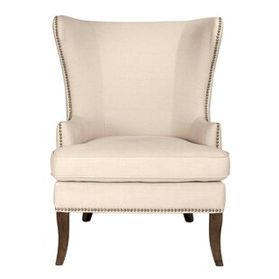 Lamberth Wing Genuine Leather Upholstered Dining Chair in Oatmeal Linen by Darby Home Co