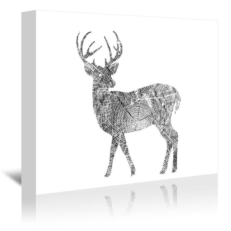 East Urban Home Deer Graphic Art On Wrapped Canvas Wayfair
