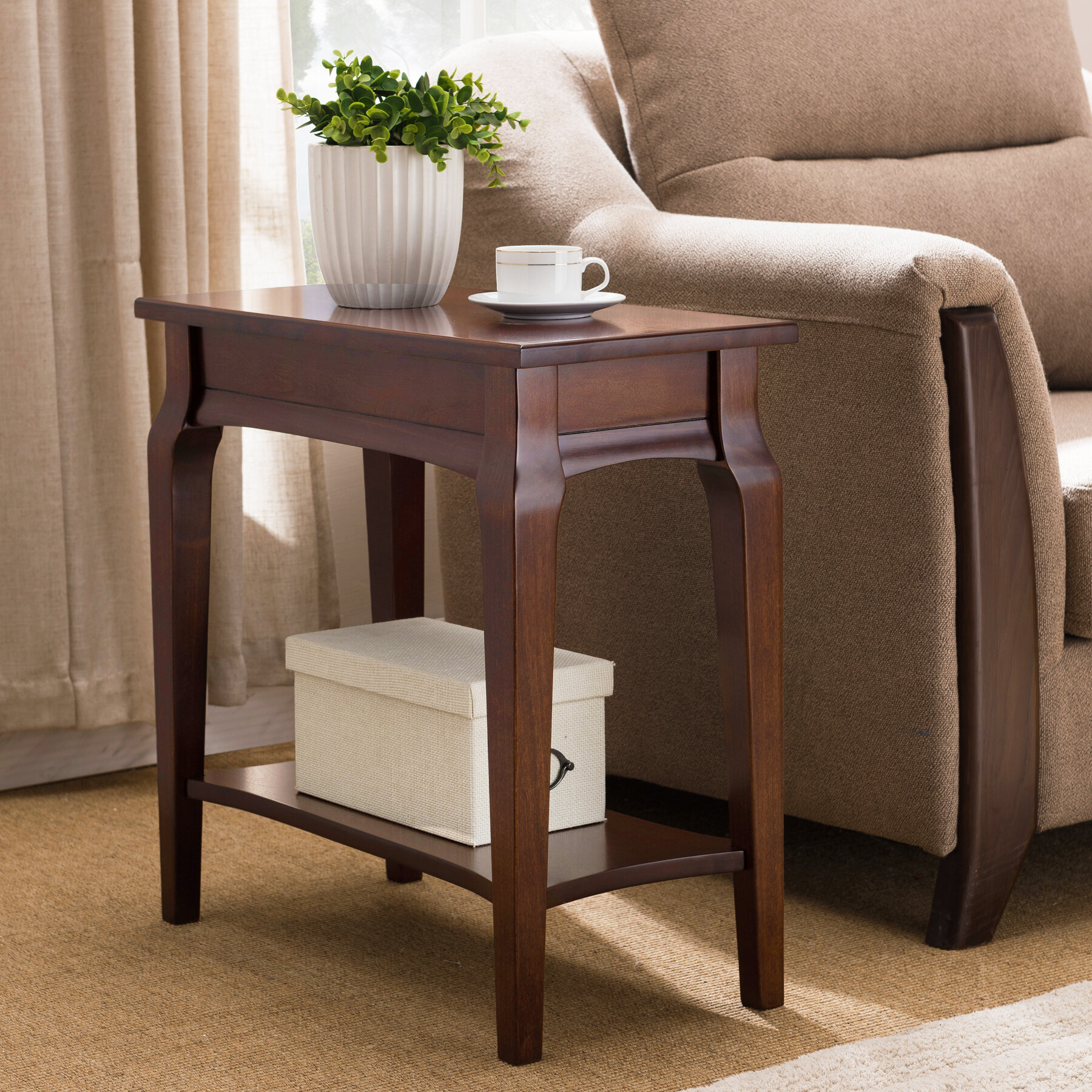 Very Narrow End Tables Charlton Home Jacobsen Narrow End Table u0026 Reviews | Wayfair