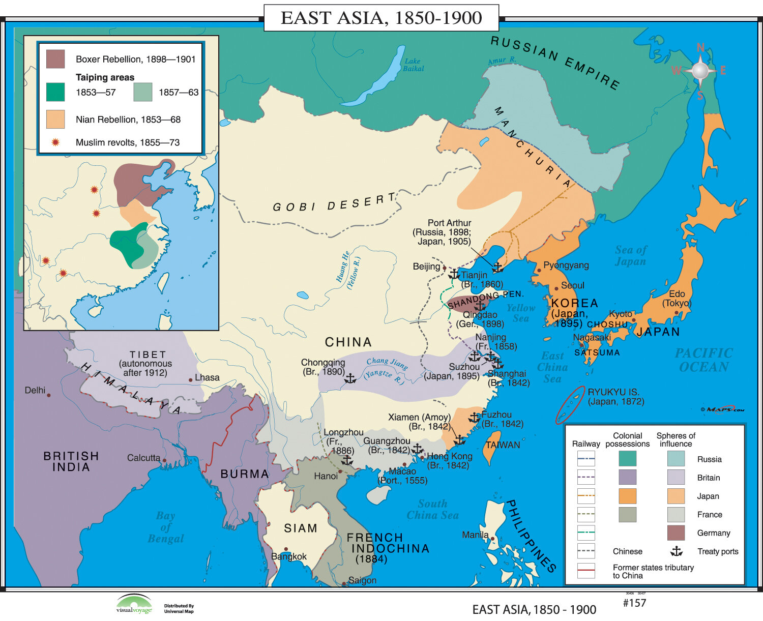 World History Wall Maps - East Asia 1850-1900