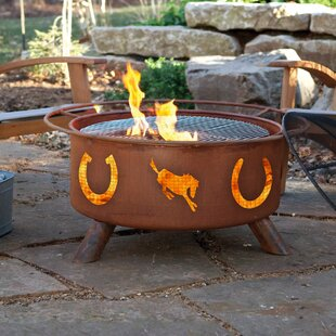 Classic Horseshoes Steel Wood Burning Fire Pit By Patina Products