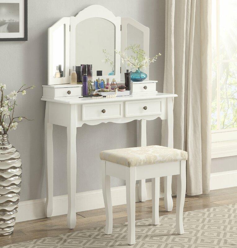 Sanlo Wooden Vanity Set With Mirror