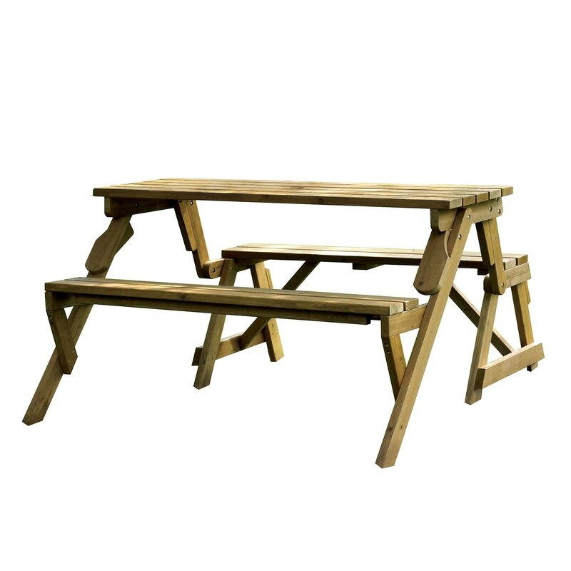 Andover Mills Dreiling Convertible Wood Picnic Table Garden Bench - Metal wood picnic table
