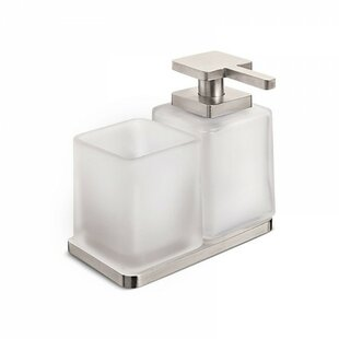 Ivy Bronx Gelinas Wall Mounted Double Holder Soap Dispenser and Tumbler Kit in Polished Chrome