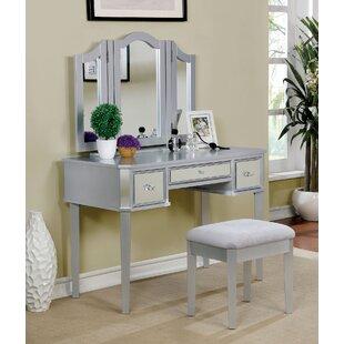 Everly Quinn Flatt Vanity Set with Mirror