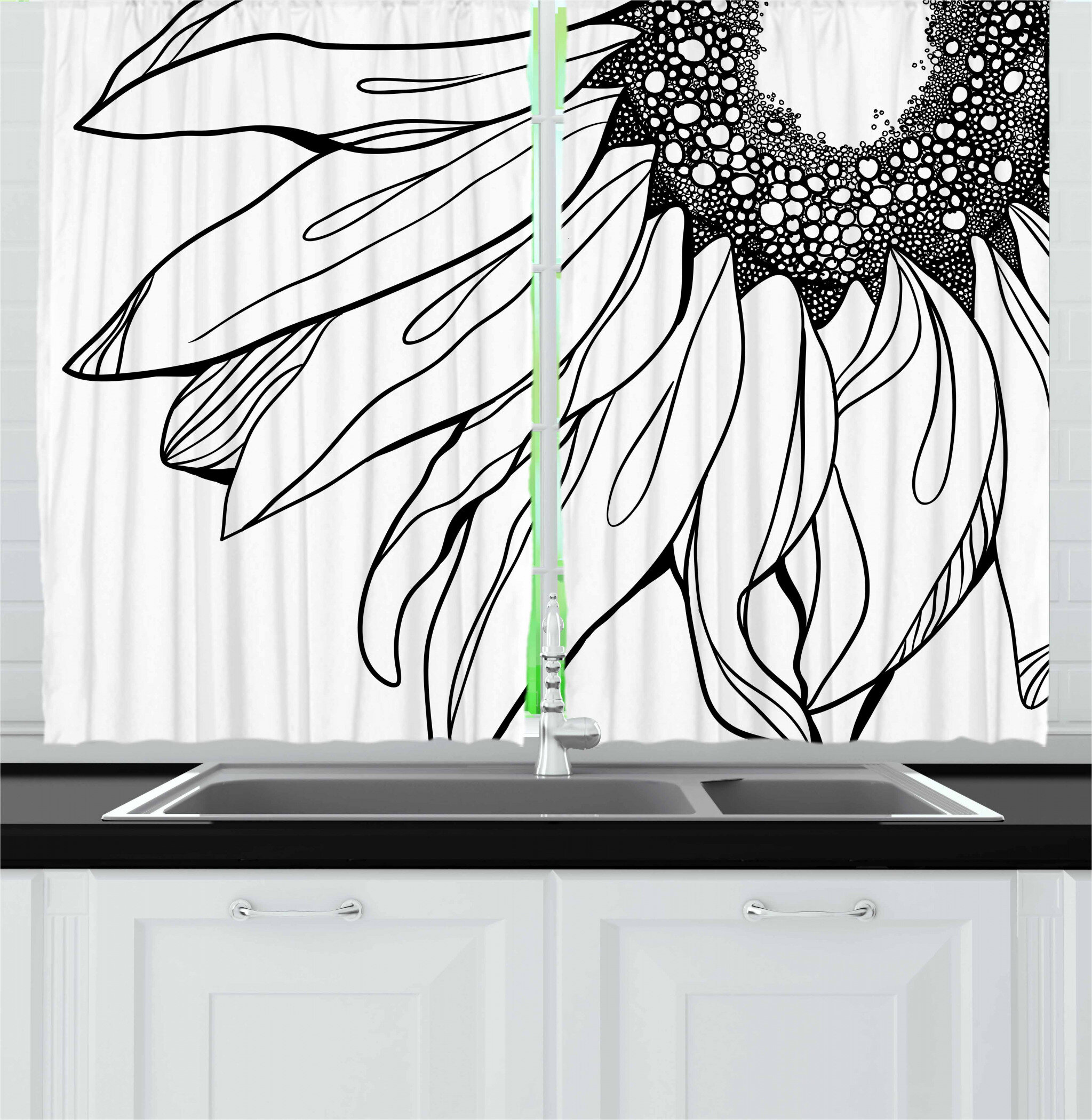 East Urban Home Caralee Doodle 2 Piece Kitchen Curtain Set Wayfair
