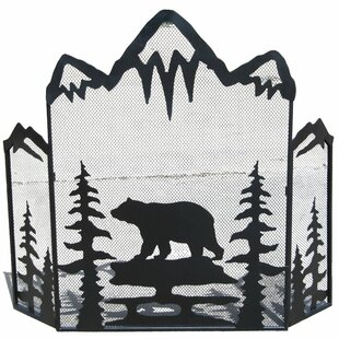 Bear and Trees 3 Panel Iron Fireplace Screen by De Leon Collections