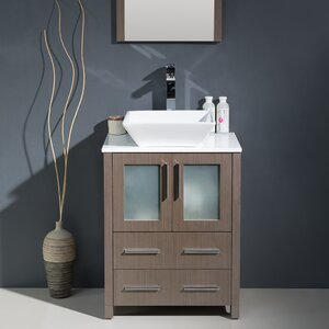 Torino 24″ Single Modern Bathroom Vanity Set with Mirror