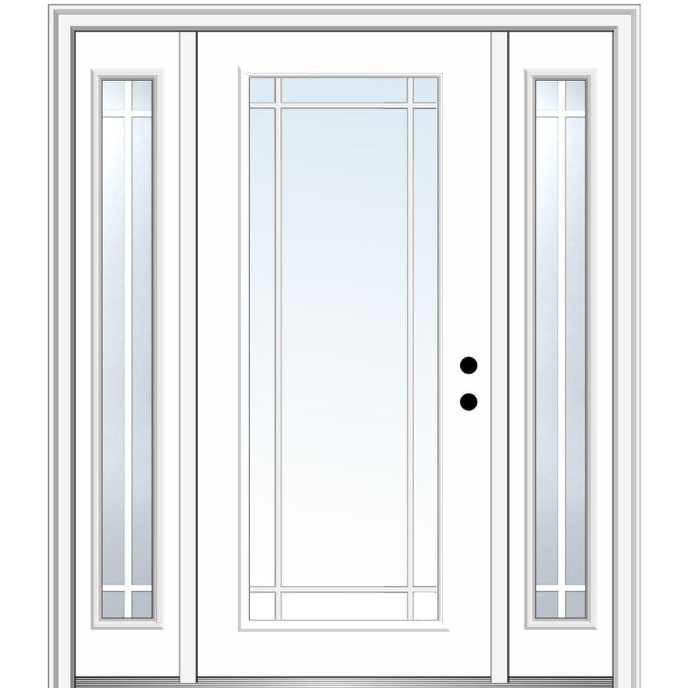 Verona Home Design Smooth Internal Prairie Grilles Primed Fiberglass Prehung Front Entry Doors Wayfair
