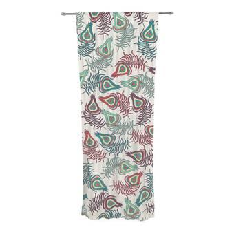 Kess InHouse Agnes Schugardt Folk in The Field Floral Pattrern Decorative Set 30 x 84 Sheer Curtains