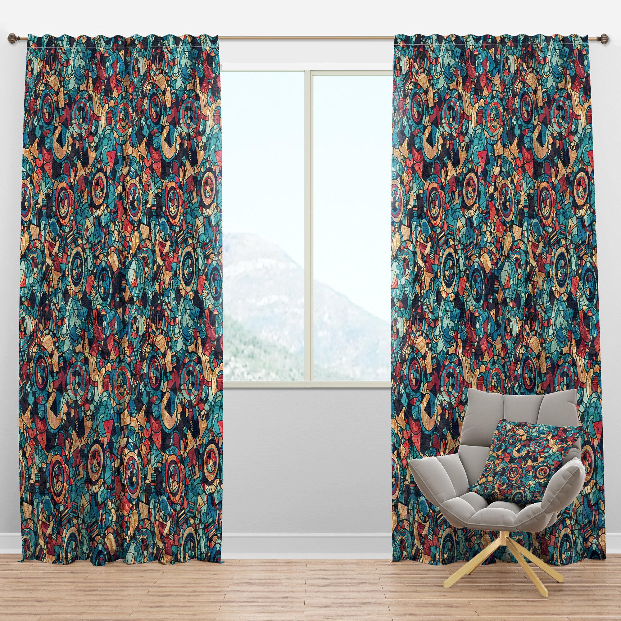 Designart Hand Drawn Semi Sheer Thermal Rod Pocket Curtain Panel Wayfair