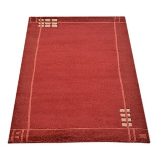 Top Reviews Cheshire Hand-Knotted Wool Red Area Rug By World Menagerie