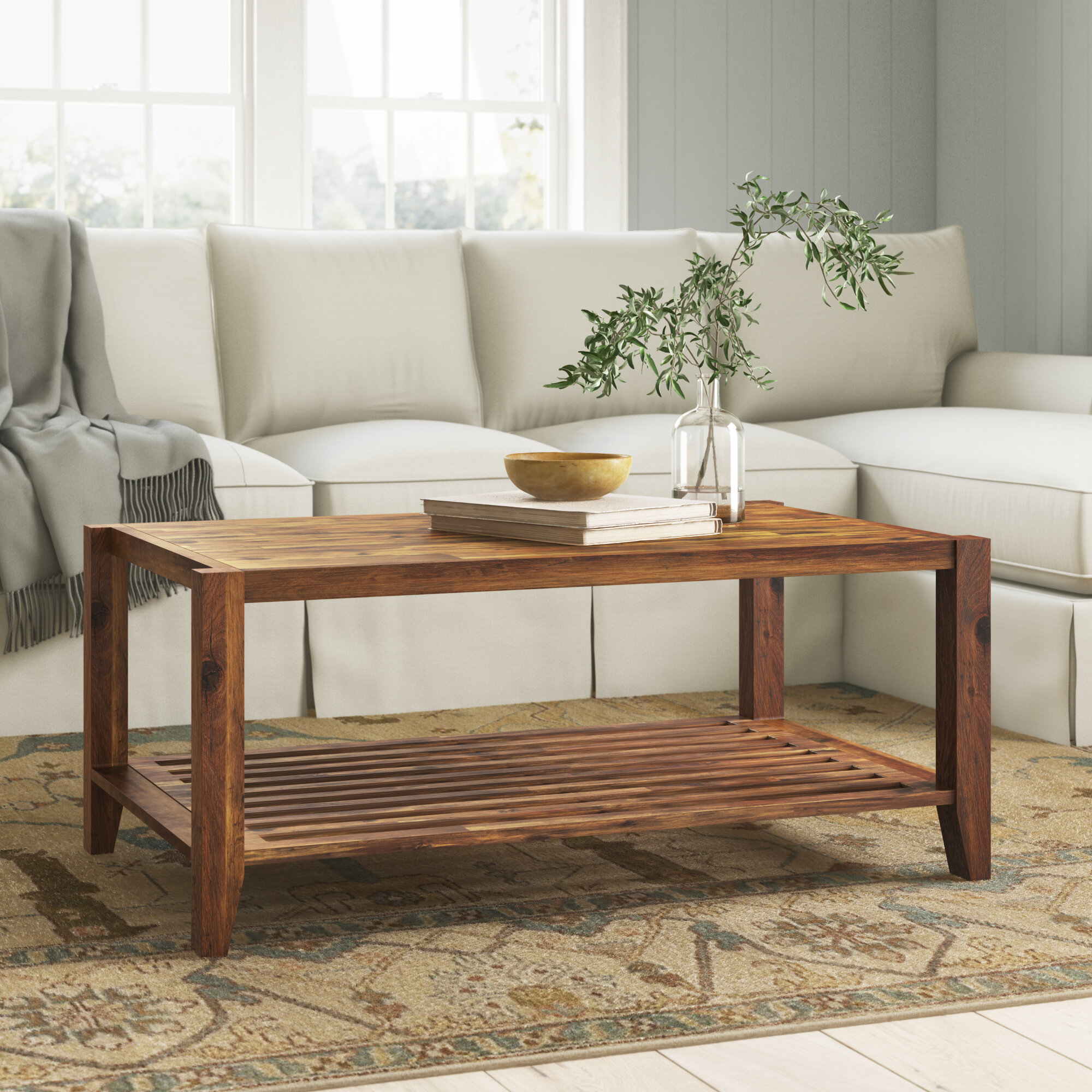 Athena Solid Wood Coffee Table With Storage Reviews Birch Lane