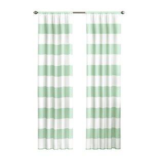 Crepeau Striped Blackout Rod Pocket Single Curtain Panel