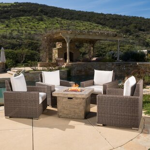 Hodge Gas 5 Piece Sunbrella Conversation Set With Cushions by Bayou Breeze Fresh