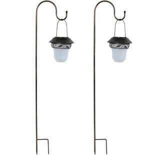 Fleur De Lis Living Lought Elegant Solar Outdoor Hanging Lantern (Set of 2)