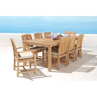 Mcclellan 9 Piece Sunbrella Dining Set with Cushions