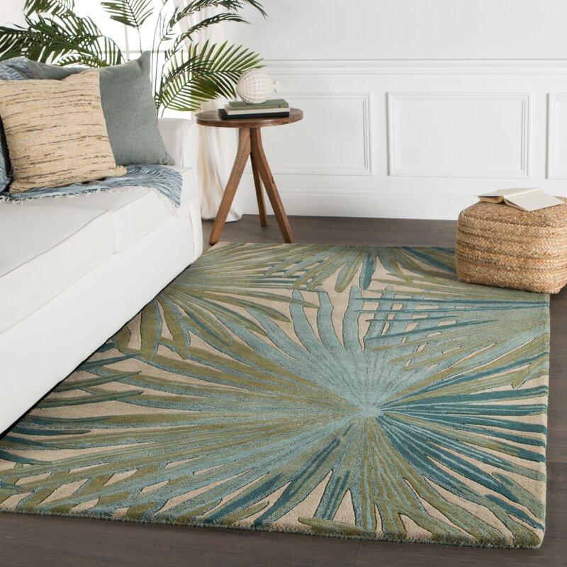 Bay Isle Home Arsos Floral Handmade Tufted Wool Green Area Rug Reviews Wayfair