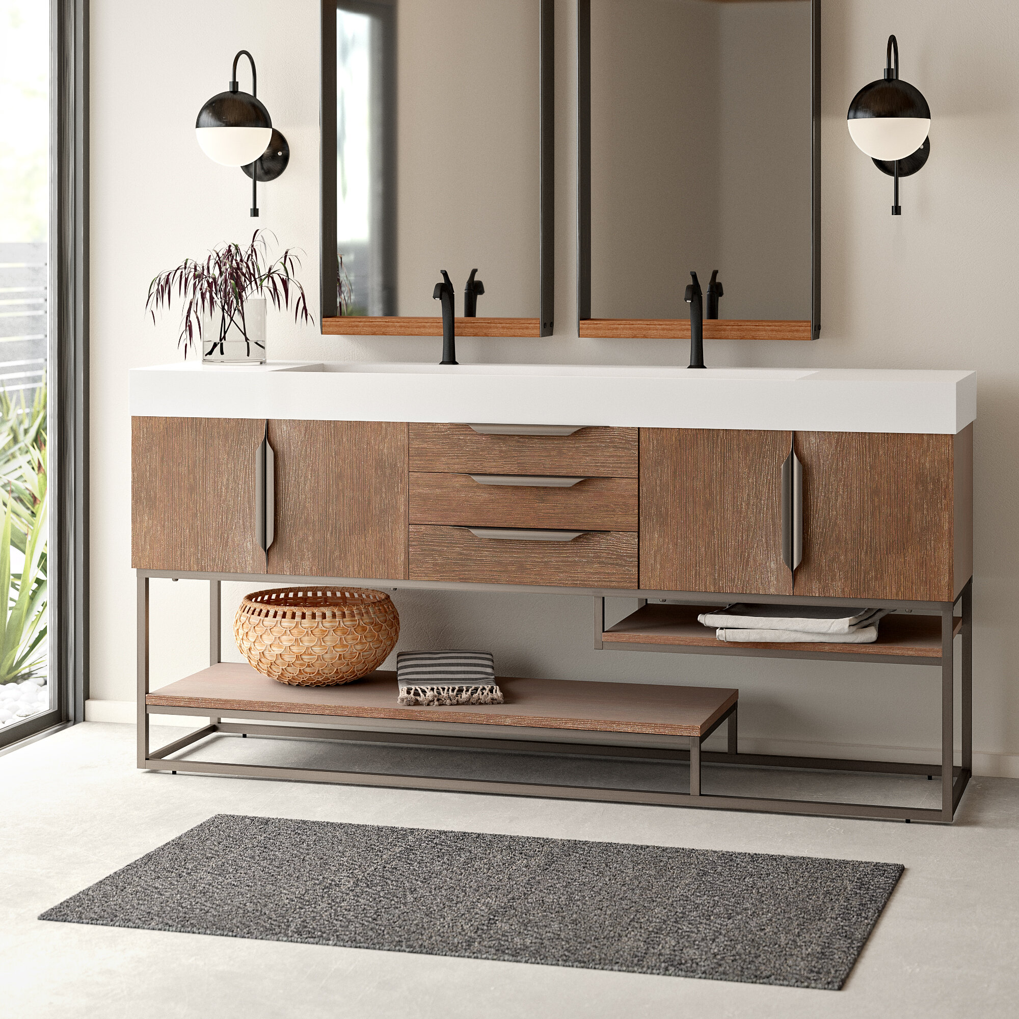 Image of: Kenton 73 Double Bathroom Vanity Set Reviews Allmodern