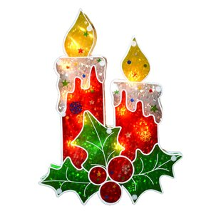 holographic berry candle christmas window lighting display - Led Christmas Window Candles