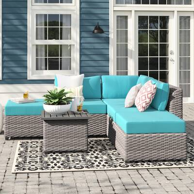 Outdoor 7 Pc Set Faux Burlap Wicker Cushions Rust Paisley Pillows Gardening Pad Home Garden