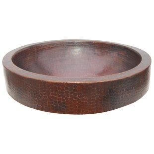 Eden Bath Semi Recessed Metal Circular Vessel Bathroom Sink with Apron