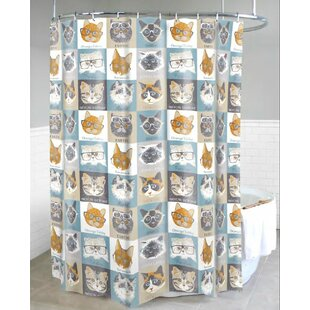 Chacon Cats with Glasses Single Shower Curtain