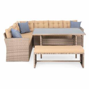 Bodenhamer 8 Seater Rattan Effect Corner Sofa Set Image