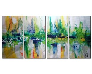 'Emerald City' by Skye Taylor 4 Piece Painting Print Plaque Set