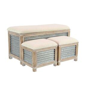 Wiggins Farmhouse Upholstered Storage 3 Piece Bench Set by Gracie Oaks