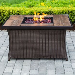 Hanover Wicker Propane Fire Pit Table