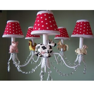 Silly Bear Lighting Barnyard Baby 5-Light Shaded Chandelier