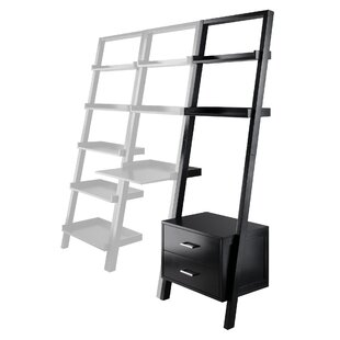 Compare prices Spurrier Leaning Shelf w/Storage in Black Finish by Ebern Designs