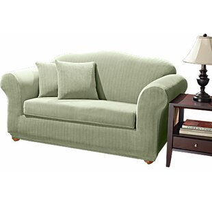 Stretch Pinstripe Box Cushion Sofa Slipcover Sure Fit