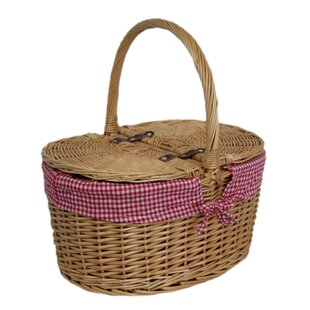 Lidded Picnic Basket With Check Lining By Brambly Cottage