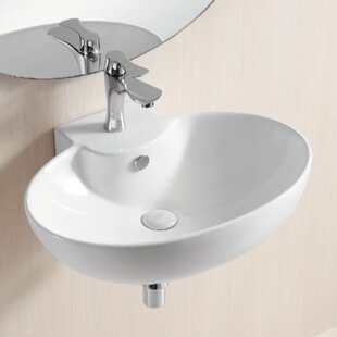 Best Ceramic 24 Wall Mount Bathroom Sink with Overflow By Caracalla