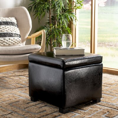 Stupendous Safavieh Jonathan Leather Storage Ottoman Color Black Gmtry Best Dining Table And Chair Ideas Images Gmtryco