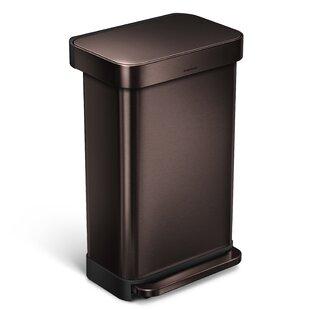 45 Liter Rectangular Step Steel Trash Can with Liner Pocket