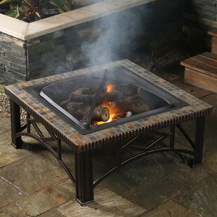 Winsome House Square Slate Wood Fire Pit