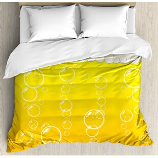 East Urban Home Abstract Close Up Bubbles and Beer Macro Alcohol Drink Refreshment Graphic Illustration Duvet Set