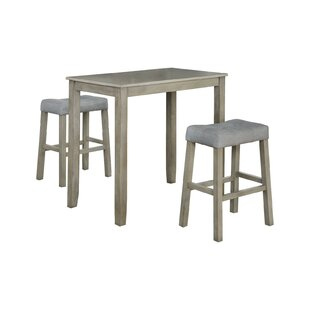 Alejandra 3 Piece Solid Wood Dining Set