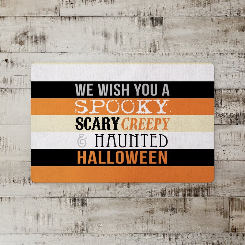 The Holiday Aisle Wharton Halloween Words Kitchen Mat Wayfair